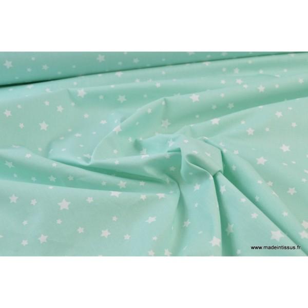 Tissu coton oeko tex imprimé étoiles Menthe - Photo n°4