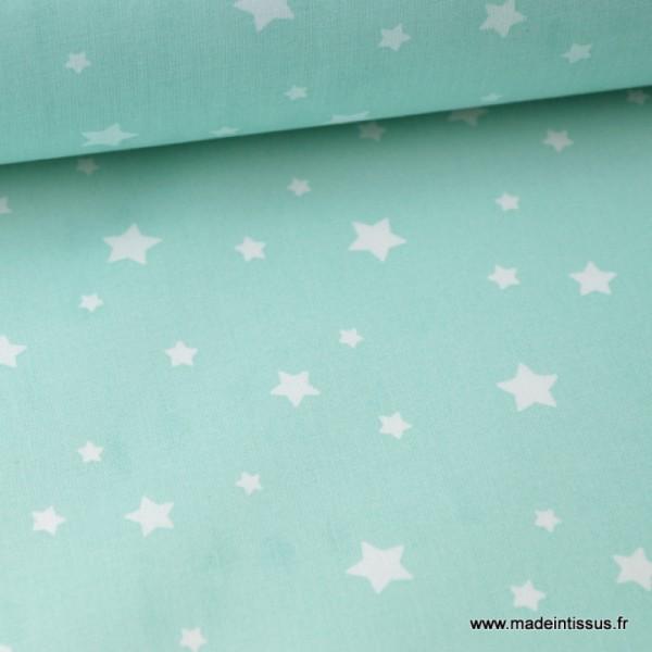 Tissu coton oeko tex imprimé étoiles MENTHE .x1m - Photo n°1