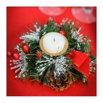 Bougeoir traditionnel de Noël, pommes de pin, baies et sapins, 15 x 7 cm,décoration hive
