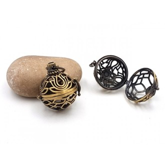 2 Breloques Cages Fleur De Lotus Bronze Pour Création De Bolas De Grossesse