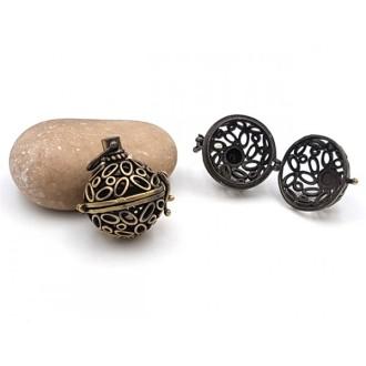 2 Breloques Cages Formes Ovales Et Ronds Bronze Pour Création Bolas De Grossesse