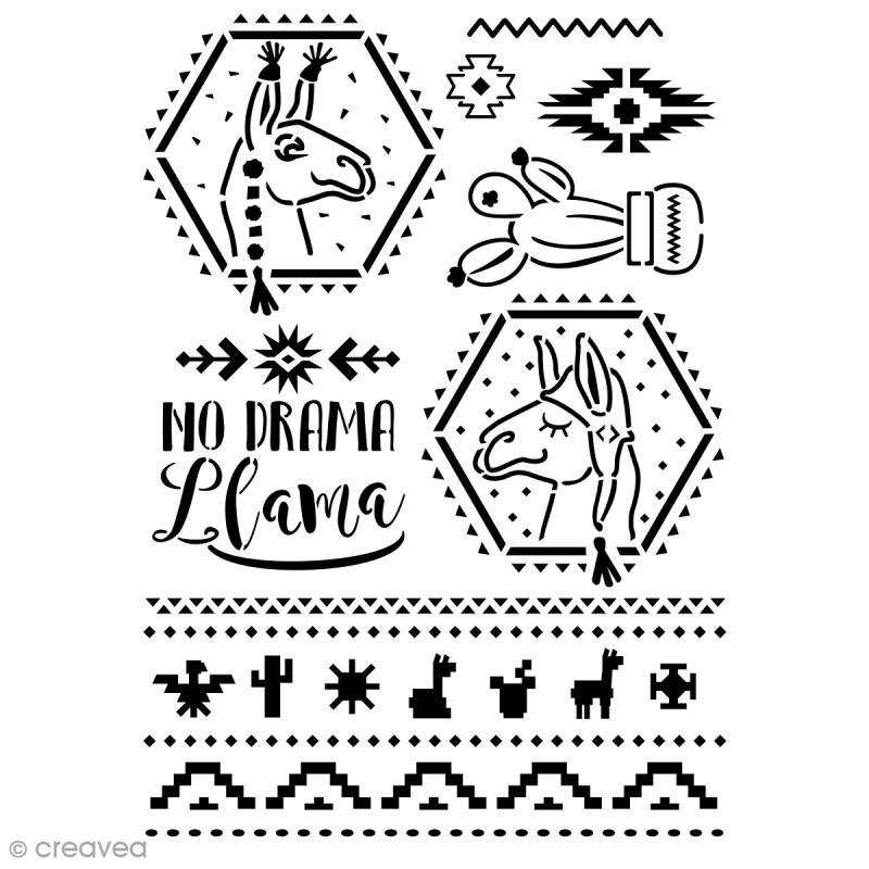 Pochoir multiusage A4 - No Drama Llamas - Photo n°1