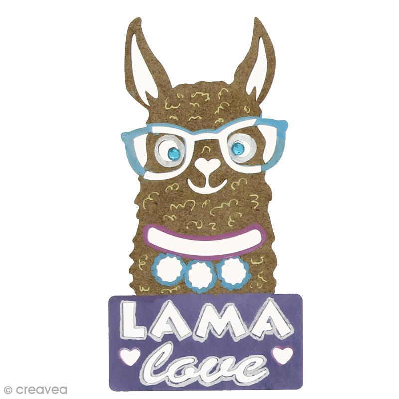 Forme bois - Lama à lunettes love - 6 x 12 cm - 1 pce - Photo n°2