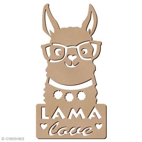 Forme bois - Lama à lunettes love - 6 x 12 cm - 1 pce - Photo n°1