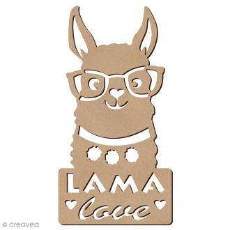 Forme bois - Lama à lunettes love - 6 x 12 cm - 1 pce