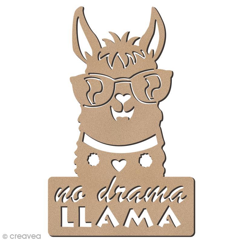 Forme bois - Lama à lunettes No Drama - 7,5 x 12 cm - 1 pce - Photo n°1