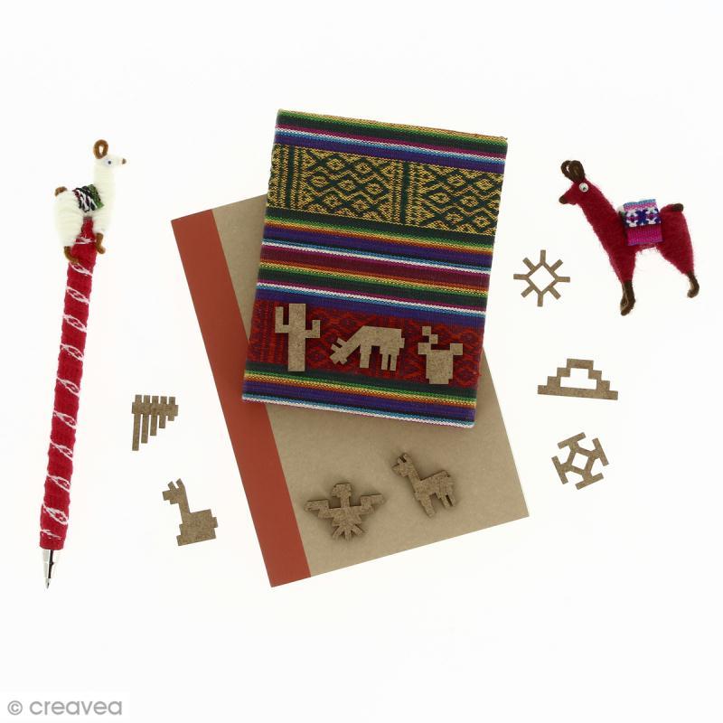 Set de mini formes en bois à décorer - Lamas, cactus et motifs aztèques - 28 mm - 10 pcs - Photo n°2