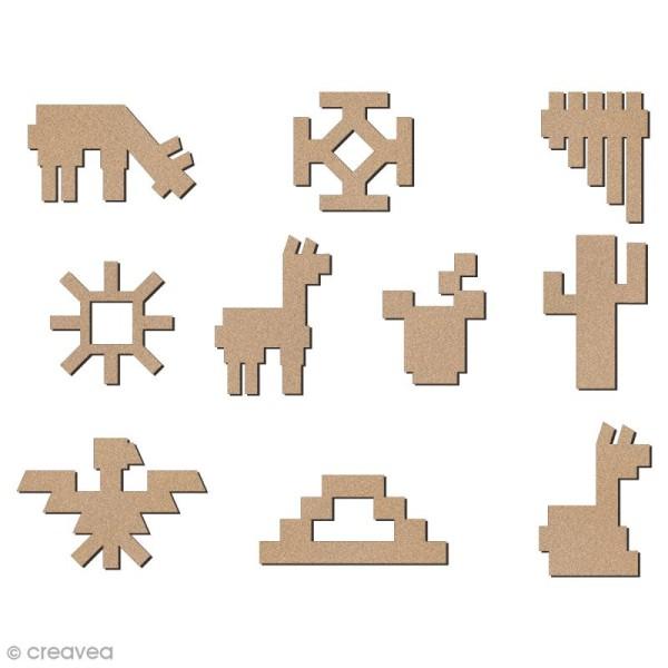 Set de mini formes en bois à décorer - Lamas, cactus et motifs aztèques - 28 mm - 10 pcs - Photo n°1