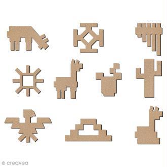 Set de mini formes en bois à décorer - Lamas, cactus et motifs aztèques - 28 mm - 10 pcs