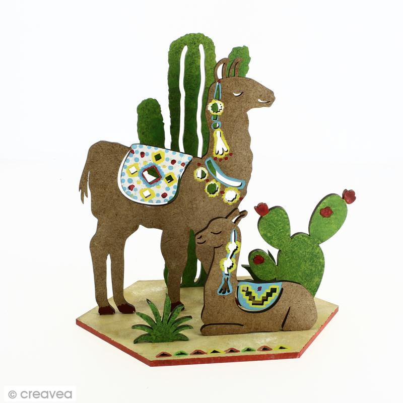 Set décoration 3D en bois à décorer - Lamas et cactus - 7 pcs - 13 x 14 cm - Photo n°2