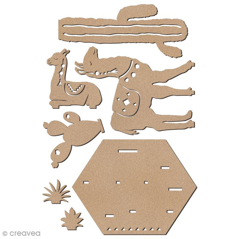 Set décoration 3D en bois à décorer - Lamas et cactus - 7 pcs - 13 x 14 cm - Photo n°3