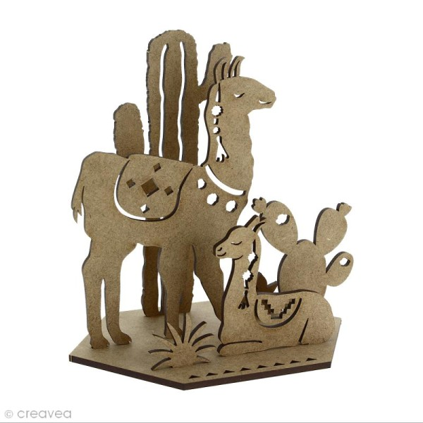 Set décoration 3D en bois à décorer - Lamas et cactus - 7 pcs - 13 x 14 cm - Photo n°1