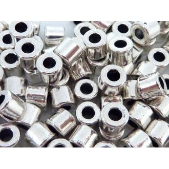 50 Perles Tube 5mm Lisse En Métal Argenté Trou 2,3mm