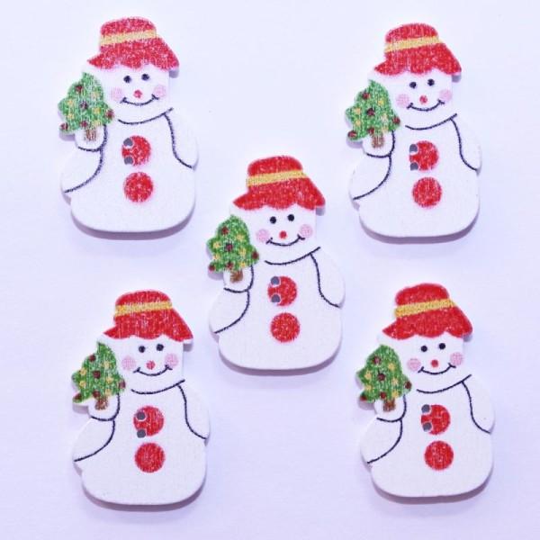 Bouton de Noël en Bois - Bonhomme de Neige 22mm - Lot de 10 - Photo n°1