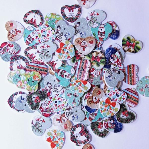 Bouton de Noël en Bois - Forme Coeur Imprimé - Thème Noël - Lot de 10 - Photo n°1