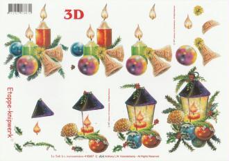 Feuille 3D à découper A4 Noël Lanterne