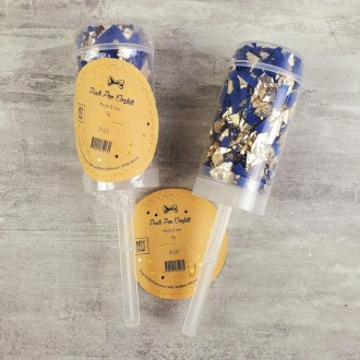 Propulseur de Confettis métalliques Bleu foncé et Doré, 14gr, Push Pop