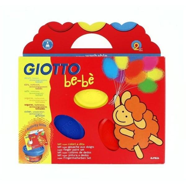 Set de 3 Gouaches aux doigts, rouge jaune bleu, 100 ml x 3 avec tablier et cahier d'activités - Photo n°1