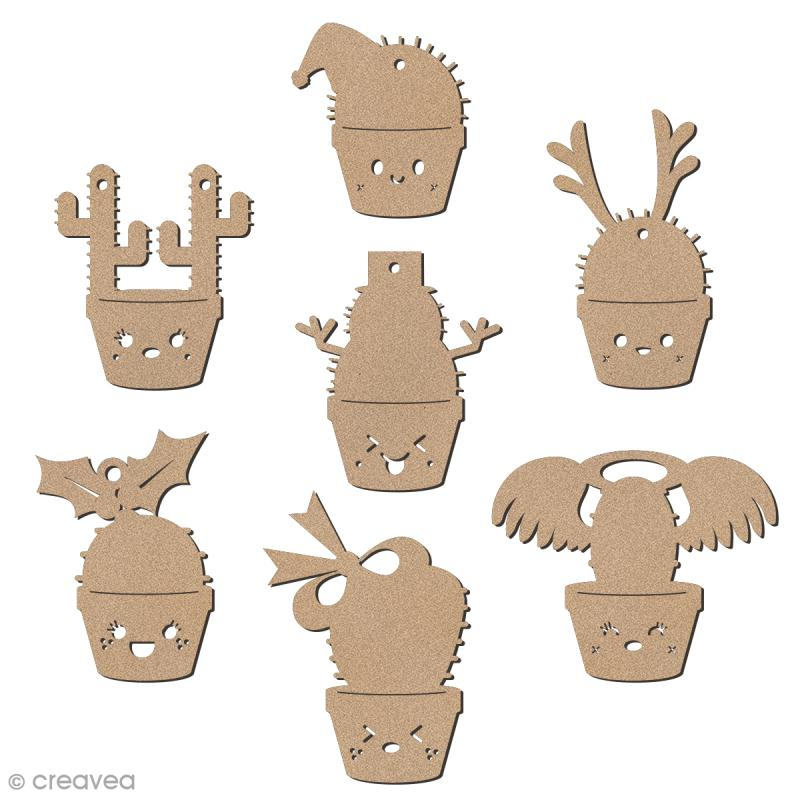 Set de formes en bois à décorer - Cactus de Noël - 7 pcs - Photo n°1