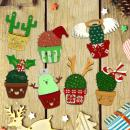 Set de formes en bois à décorer - Cactus de Noël - 7 pcs - Photo n°2