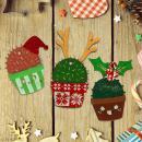 Set de formes en bois à décorer - Cactus de Noël - 7 pcs - Photo n°4