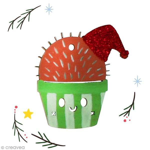 Cactus de Noël en bois à décorer - Cactus bonnet de Noël - 6 cm - 1 pce - Photo n°2