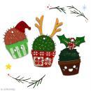 Cactus de Noël en bois à décorer - Cactus bonnet de Noël - 6 cm - 1 pce - Photo n°4