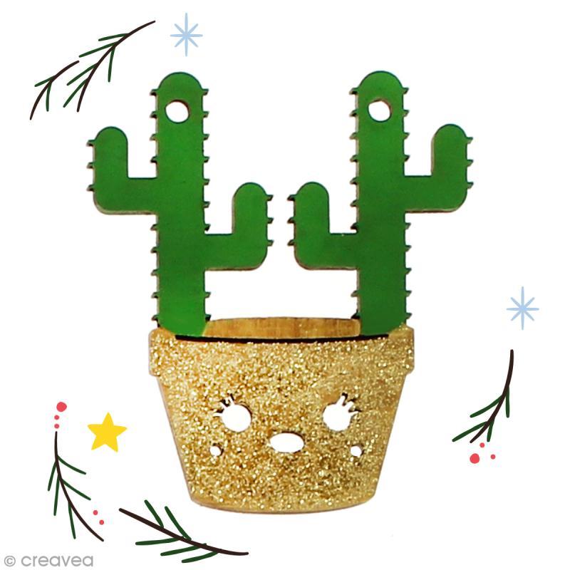 Cactus de Noël en bois à décorer - Double cactus - 6,5 cm - 1 pce - Photo n°2