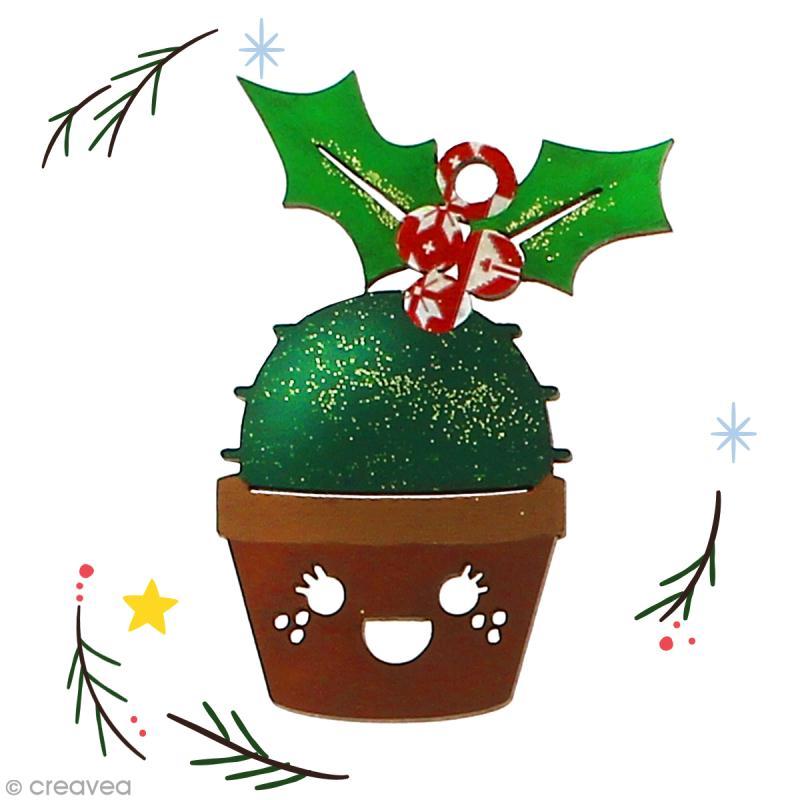 Cactus de Noël en bois à décorer - Cactus houx - 7,5 cm - 1 pce - Photo n°2