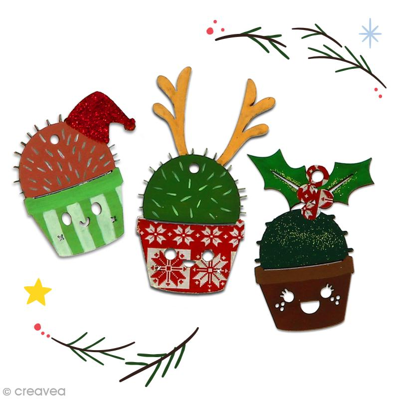Cactus de Noël en bois à décorer - Cactus houx - 7,5 cm - 1 pce - Photo n°4
