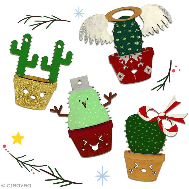 Cactus de Noël en bois à décorer - Cactus bonhomme de neige - 7 cm - 1 pce - Photo n°4