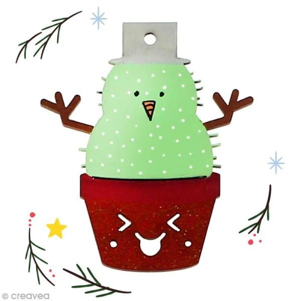Cactus de Noël en bois à décorer - Cactus bonhomme de neige - 7 cm - 1 pce - Photo n°2