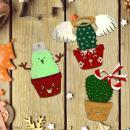 Cactus de Noël en bois à décorer - Cactus bonhomme de neige - 7 cm - 1 pce - Photo n°3