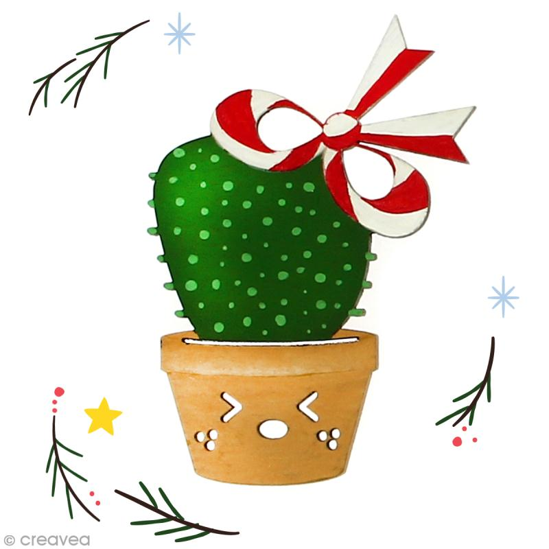 Cactus de Noël en bois à décorer - Cactus noeud - 8,5 cm - 1 pce - Photo n°2