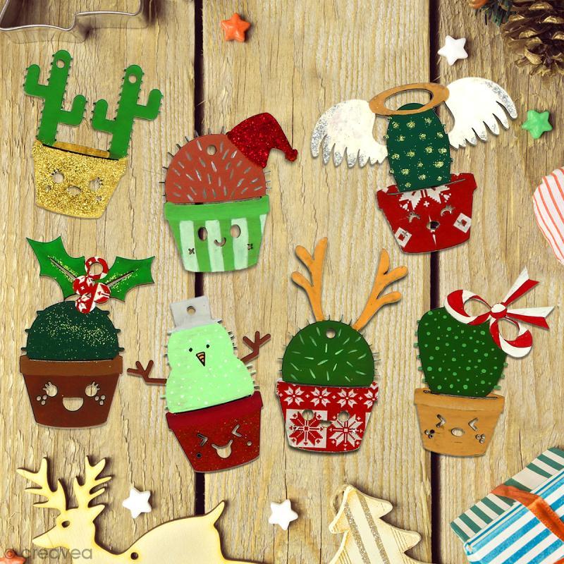 Cactus de Noël en bois à décorer - Cactus noeud - 8,5 cm - 1 pce - Photo n°3