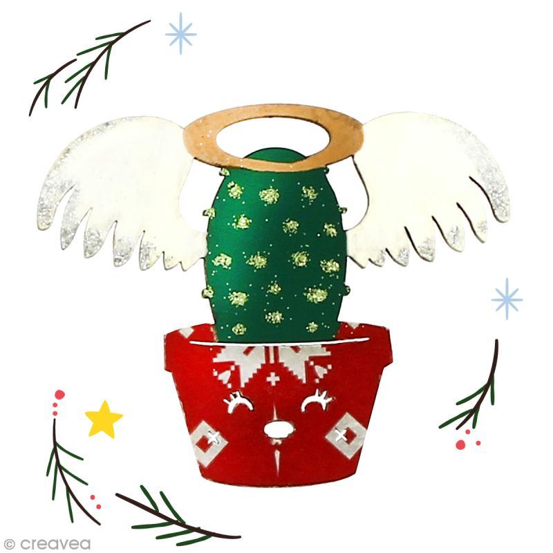 Cactus de Noël en bois à décorer - Cactus ange - 6,7 cm - 1 pce - Photo n°2
