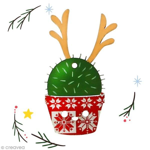 Cactus de Noël en bois à décorer - Cactus renne - 8 cm - 1 pce - Photo n°2