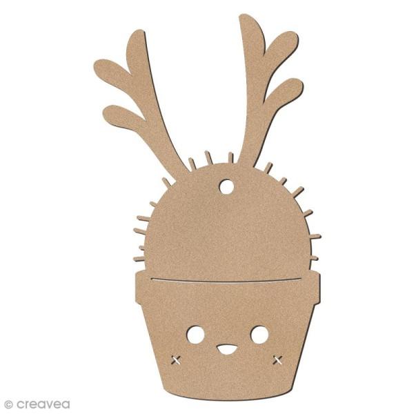 Cactus de Noël en bois à décorer - Cactus renne - 8 cm - 1 pce - Photo n°1