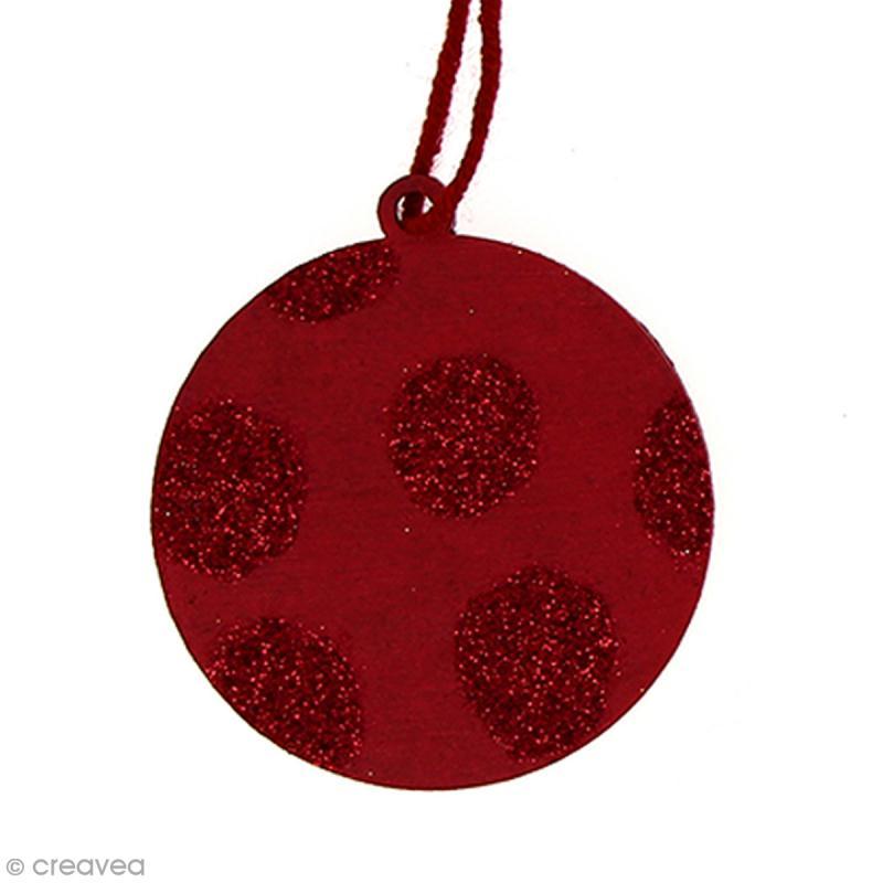 Forme en bois à suspendre - Boule de Noël - 6,5 cm - 1 pce - Photo n°2