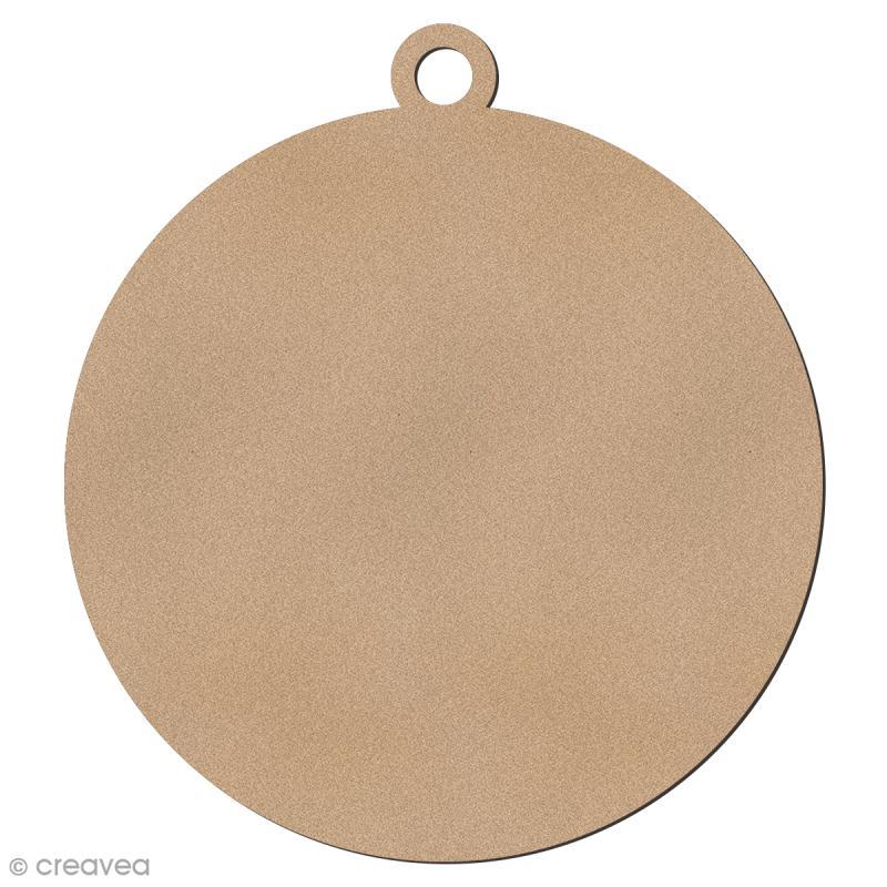 Forme en bois à suspendre - Boule de Noël - 6,5 cm - 1 pce - Photo n°1