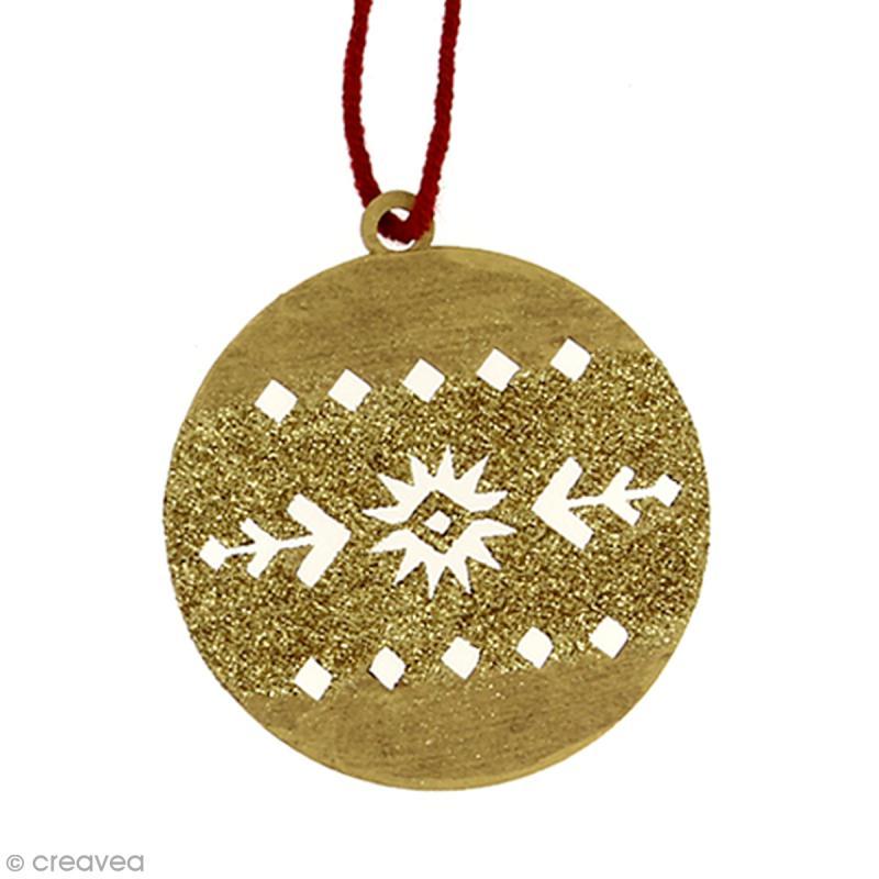 Forme en bois à suspendre Motifs Aztèque - Boule de Noël - 7 cm - 1 pce - Photo n°2