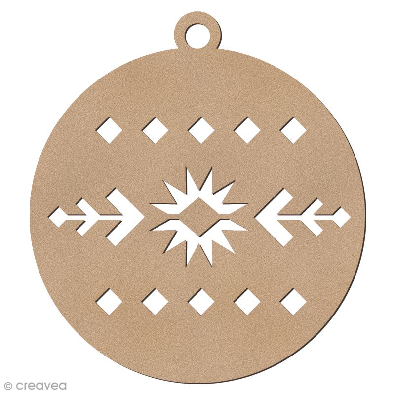 Forme en bois à suspendre Motifs Aztèque - Boule de Noël - 7 cm - 1 pce - Photo n°1