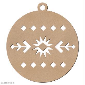 Forme en bois à suspendre Motifs Aztèque - Boule de Noël - 7 cm - 1 pce