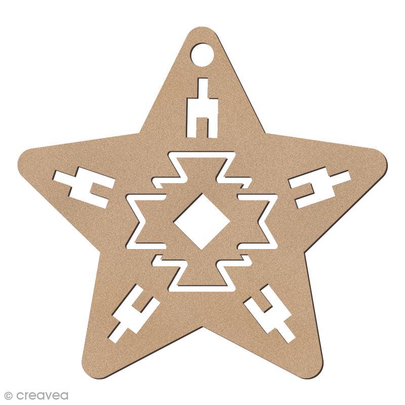 Forme en bois à suspendre Motifs Aztèque - Etoile de Noël - 7,5 cm - 1 pce - Photo n°1