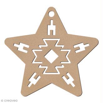 Forme en bois à suspendre Motifs Aztèque - Etoile de Noël - 7,5 cm - 1 pce