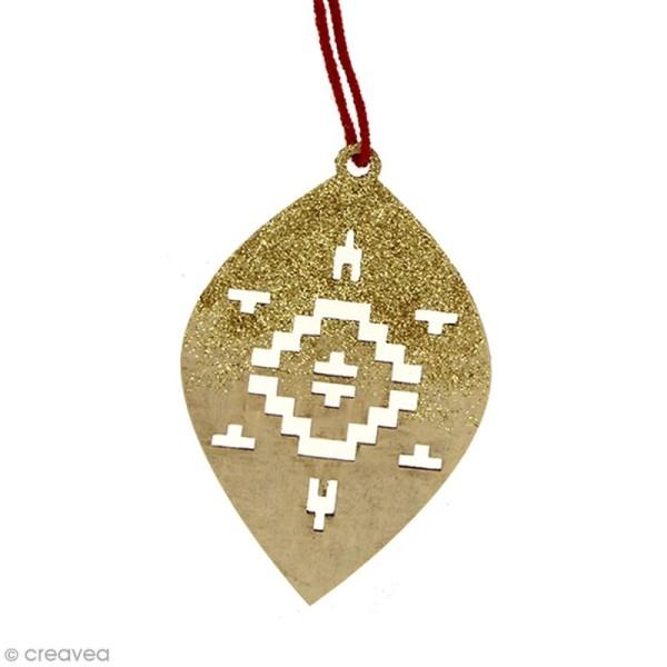 Forme en bois à suspendre Motifs Aztèque - Boule oblongue de Noël - 10 cm - 1 pce - Photo n°2