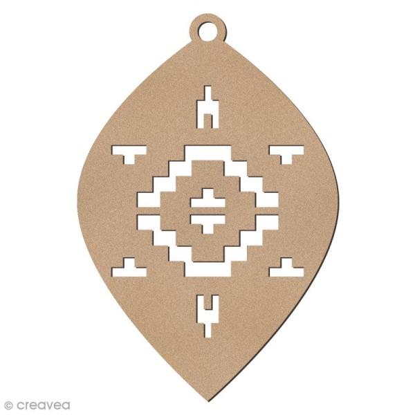 Forme en bois à suspendre Motifs Aztèque - Boule oblongue de Noël - 10 cm - 1 pce - Photo n°1