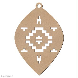 Forme en bois à suspendre Motifs Aztèque - Boule oblongue de Noël - 10 cm - 1 pce