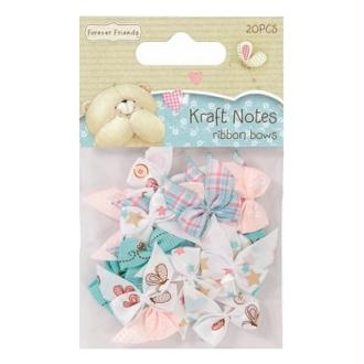20 noeux en tissu Scrapbooking couture 2.5 X 2.3 cm Forever friends KRAFT NOTES