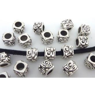 5 Perles Cube, Facette 9,4mm En Métal Argenté Ouvragé à Gros Trou 4,8m